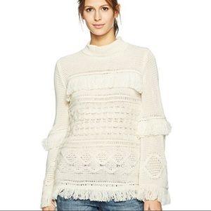 BB Dakota Cream Fringe Sweater